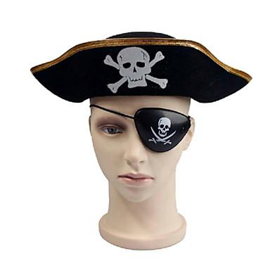 halloween maskerad vuxna manliga Pirates of the Caribbean pirat kapten  klänning platt pirat hatt glasögon + da8924ed1a321