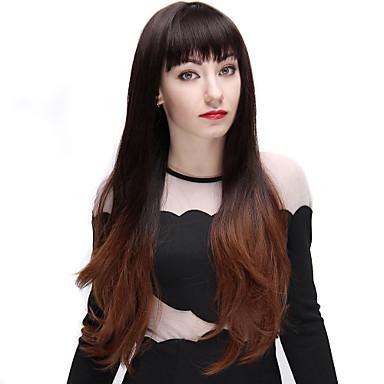Cabelo Sintético perucas Ondulado Cabelo Ombre Com Franjas Sem Touca Peruca de carnaval Peruca de Halloween Marrom