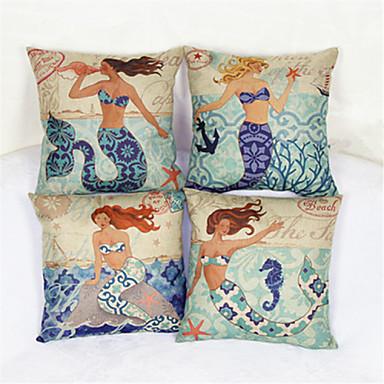 a capa de travesseiro decorativo princesa da sereia (17 * 17 polegadas)
