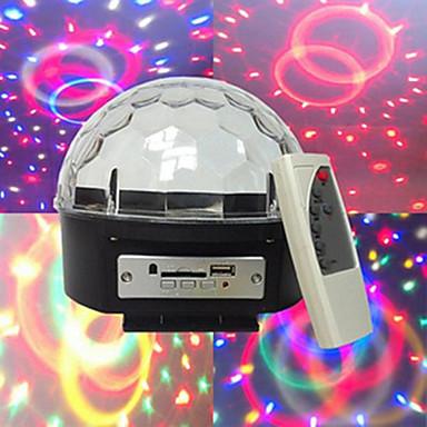 mp3 voz diamante bola de cristal automotora voz mp3 player 3W * contas de luz 6LED seis cores grande tensão