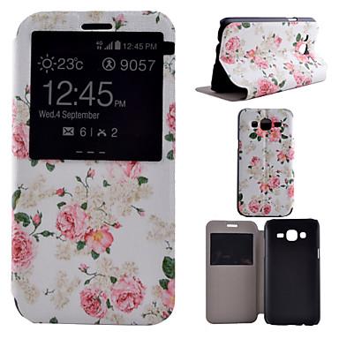 hoesje Voor Samsung Galaxy Samsung Galaxy hoesje met standaard met venster Volledig hoesje Bloem PU-nahka voor J7 J5