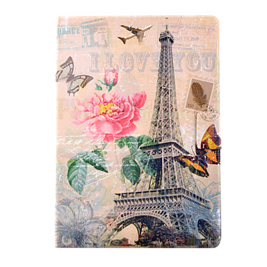 tok Για iPad Air Θήκη καρτών με βάση στήριξης Με σχέδια Πλήρης Θήκη Πύργος του Άιφελ PU δέρμα για iPad Air