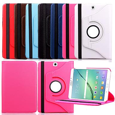 Voor Samsung Galaxy hoesje met standaard / Flip / 360° rotatie hoesje Volledige behuizing hoesje Effen kleur PU-leer Samsung Tab S2 9.7