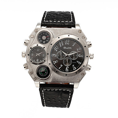 Męskie Sportowy Wojskowy Modny Zegarek na nadgarstek Dwie strefy czasowe Kwarcowy Skóra naturalna Pasmo Postarzane Na co dzień