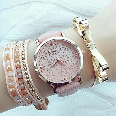 Mulheres Relógio de Moda Quartzo PU Banda Preta Branco Rosa Branco Preto Rosa claro