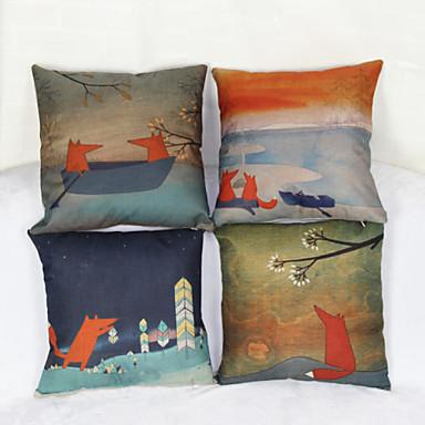 set van 4 kleine vos kussensloop bank home decor kussenhoes (17 * 17 inch)