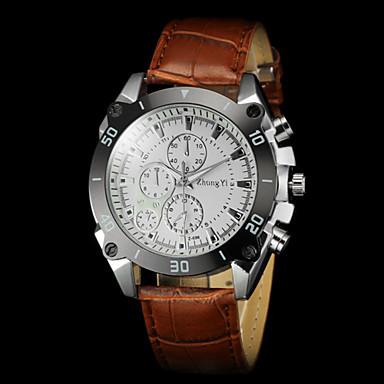 Masculino Relógio de Pulso Quartzo PU Banda Preta Marrom Branco Preto Marron
