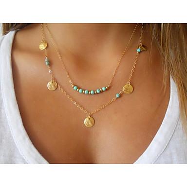 Feminino Com Miçangas Dupla camada Colares com Pendentes colares em camadas Turquesa Liga Colares com Pendentes colares em camadas ,