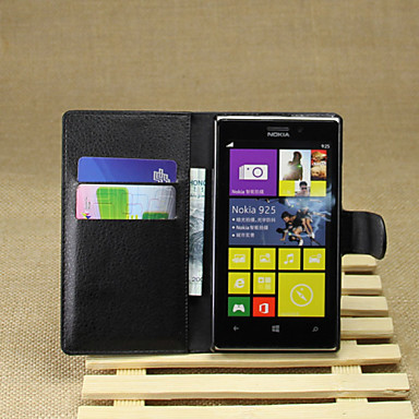 Για Θήκη Nokia Πορτοφόλι / Θήκη καρτών / με βάση στήριξης tok Πλήρης κάλυψη tok Μονόχρωμη Σκληρή Συνθετικό δέρμα Nokia Nokia Lumia 925