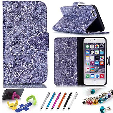 Para Capinha iPhone 6 / Capinha iPhone 6 Plus Carteira / Porta-Cartão / Com Suporte / Flip / Estampada Capinha Corpo Inteiro Capinha Flor