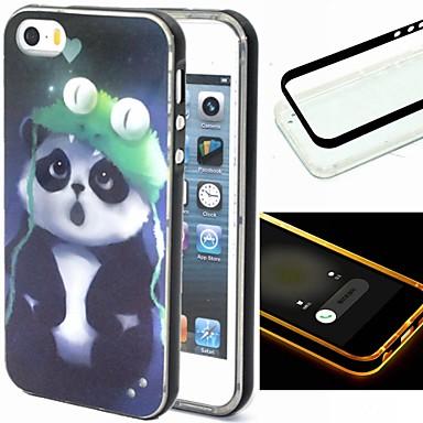 hoesje Voor iPhone 5 hoesje LED-knipperlicht Achterkantje Panda dier Zacht TPU voor iPhone SE/5s iPhone 5