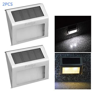 youoklight® 2pcs 0.2W 2-levou controle de luz branca lâmpada quente branco / parede solar - prata