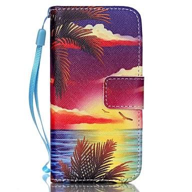 zee bij zonsondergang patroon pu leer materiaal flip-kaart telefoon Case voor iPhone 5c