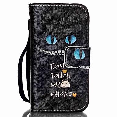 zwarte kat patroon pu leer materiaal flip-kaart telefoon Case voor de iPhone 4 / 4s