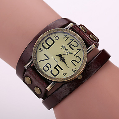 Women's Bracelet Watch Casual Watch Leather Band Vintage / Fashion Black / White / Blue