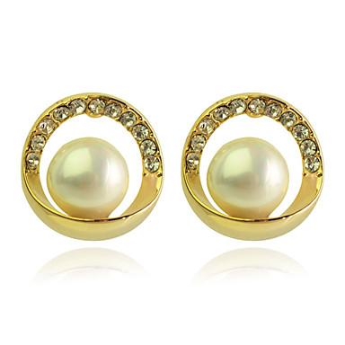 Feminino Brincos Curtos Luxo Fashion Pérola Cristal Chapeado Dourado Imitações de Diamante Formato Circular Forma Geométrica Jóias Festa