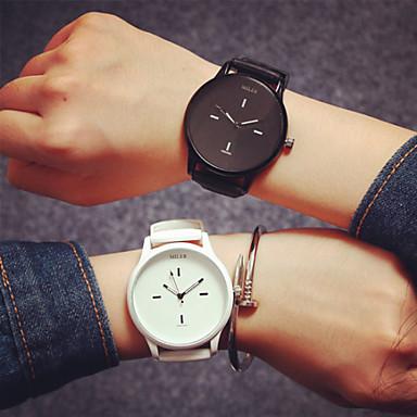 Masculino Mulheres Casal Relógio de Moda Quartzo Silicone Banda Branco Preto Vermelho Azul