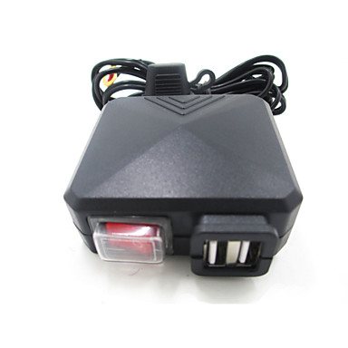 zwarte motorfiets auto dual usb lader met schakelaar spiegel mount 12v-24v adapter opladen voor atv boot crossmotor