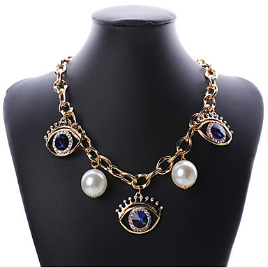 billige Mode Halskæde-Dame Kort halskæde Perle Rhinsten Ondt øje Europæisk Mode Skærmfarve Det onde øje Halskæder Smykker Til