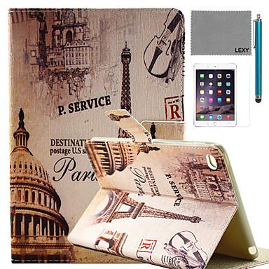 lexy® padrão paris rua caso pu estande da aleta de couro com protetor de tela e caneta para iPad mini 4