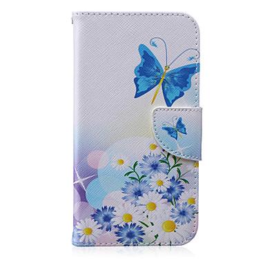 Para Samsung Galaxy Capinhas Porta-Cartão / Carteira / Com Suporte / Flip / Estampada Capinha Corpo Inteiro Capinha Borboleta Couro PU