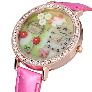 Dames Modieus horloge Kwarts PU Band Glitter Bloem Zwart Wit Rood Bruin Wit Zwart Bruin Rood Roze