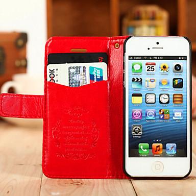 hoesje Voor iPhone 5 hoesje Kaarthouder met standaard Volledige behuizing Effen Kleur Hard voor iPhone SE/5s iPhone 5