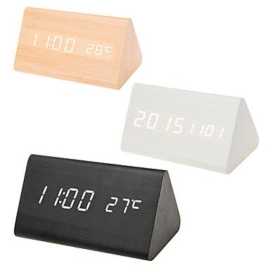 Multicolor dźwięki kontrolować drewniany zegar nowe nowoczesne drewno cyfrowe biurko LED budzik termometr zegar kalendarz wystrój stołu