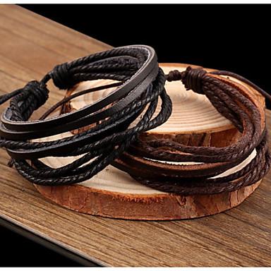 Dames Gelaagd / gevlochten Wikkelarmbanden / Lederen armbanden - Leder Vintage, Informeel, Standaard Armbanden Zwart / Bruin Voor Feest / Dagelijks / Causaal