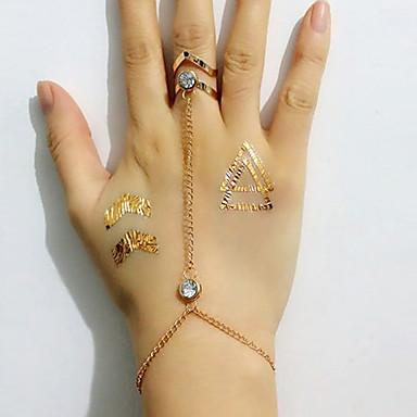 Feminino Pulseiras Anéis Strass imitação de diamante Liga Estilo simples Moda Dourado Jóias 1peça