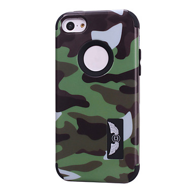 camouflagepatronen hoge kwaliteit snap-on pc + siliconen hybride combo armor geval voor iphone 5c (assorti kleur)