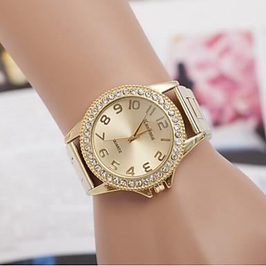 Heren Dames Voor Stel Dress horloge Gesimuleerd Diamant Horloge Kwarts imitatie Diamond Zwitsers Designer Legering Band Zilver GoudGoud