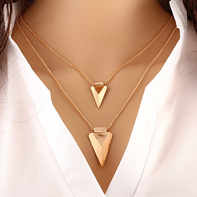 cheap Necklaces-Women's Layered Necklace Double Layered Double Arrow Ladies Personalized Basic European Alloy Gold Necklace Jewelry For Special Occasion Birthday Gift Daily Casual