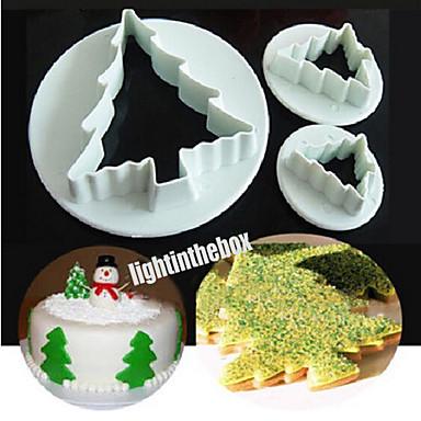 3pcs kerstboom diy plastic taartkoekje groente bakvorming snijvorm kleur willekeurig