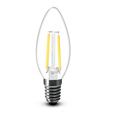 E14 Luzes de LED em Vela C35 2 COB 200 lm Branco Quente 2700 K Decorativa AC 220-240 V