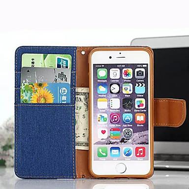 denim de luxo caso pu carteira de couro da aleta para iphone 6s plus / 6 mais