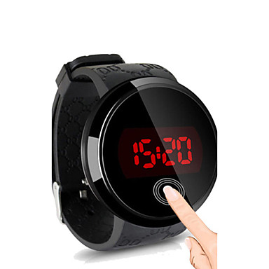 billige Herreure-Herre Armbåndsur Digital Watch Digital Silikone Sort Vandafvisende Touch-skærm Kreativ Digital Sort Sort / Hvid Hvid / Sølv To år Batteri Levetid / LED / Panasonic CR2032