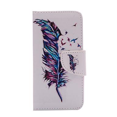 Para Capinha iPhone 6 / Capinha iPhone 6 Plus Porta-Cartão / Carteira / Com Suporte / Flip / Estampada Capinha Corpo Inteiro Capinha Pena