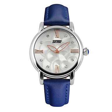 Dames Modieus horloge Kwarts Waterbestendig Leer Band Bloem Zwart Wit Blauw Rood Wit Zwart Rood Blauw