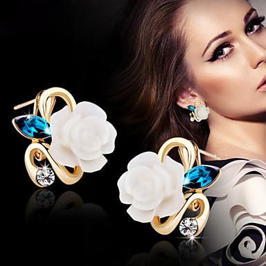 Feminino Brincos Curtos bijuterias Liga Formato de Flor Jóias Para Casamento Festa Diário