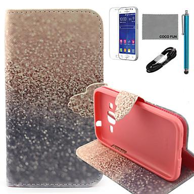 coco fun® gouden sandsl patroon pu lederen tas met v8 usb-kabel, flim en stylus voor de samsung galaxy kern prime G360