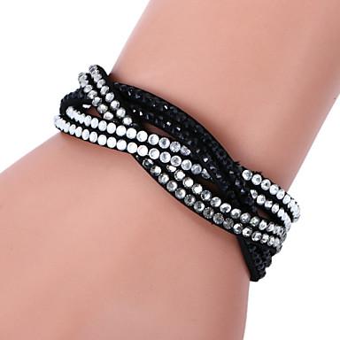 Dames Leder Strass Gesimuleerde diamant Wikkelarmbanden - Luxe Roos Zwart / Wit Lichtblauw Armbanden Voor Kerstcadeaus Bruiloft Feest