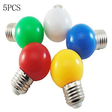 5pçs 1W 50-100lm E26 / E27 Lâmpada Redonda LED G45 8 Contas LED SMD 2835 Decorativa Branco Verde Amarelo Azul Vermelho 220-240V