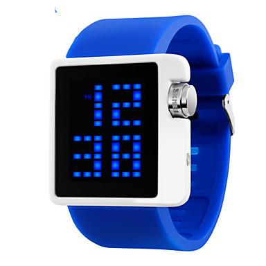 Mulheres Relógio de Moda LED Calendário Impermeável Digital PU Banda Preta Branco Azul Vermelho