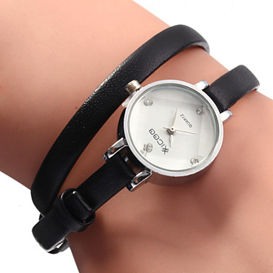 Mulheres Quartzo Bracele Relógio Venda imperdível Couro Banda Amuleto Fashion Preta Branco Marrom