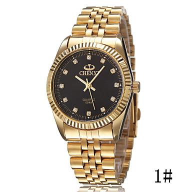 Masculino Relógio de Pulso Simulado Diamante Relógio Quartzo Lega Banda Dourada Dourado # 1 # 2 # 3 Preto/Dourado