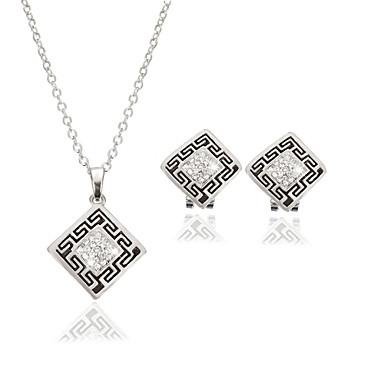 نساء مجموعة مجوهرات ترف موضة زفاف حزب يوميا فضفاض تقليد الماس 1 قلادة 1 زوج من الأقراط