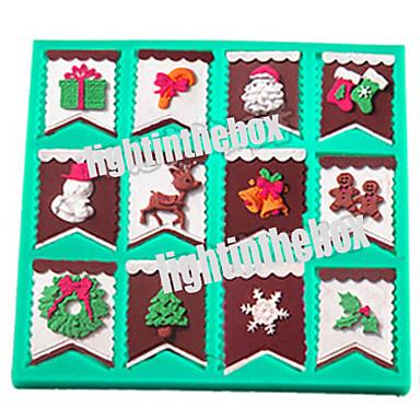 Kerstmis Bunting vlag Kerstman Sneeuwpop Candy Bar Sok Bell Boom Diy Siliconen Chocolade Pudding Suiker Taart Schimmel Kleur Willekeurig