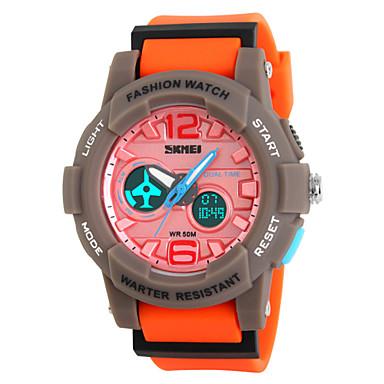 Masculino Relógio de Pulso Quartzo LED Calendário Cronógrafo Impermeável Dois Fusos Horários alarme Relógio Esportivo PU BandaCores