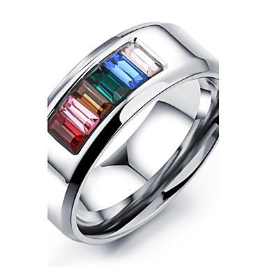 Anéis Casamento / Pesta / Diário / Casual / Esportes Jóias Aço Titânio Casal Anéis Grossos 1pç,5 / 6 / 7 / 8 / 9 / 10 / 11 / 12 Branco
